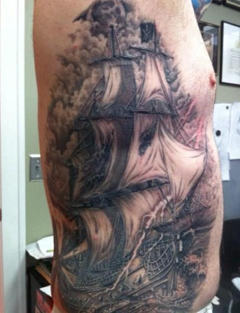 Large Grey Ink Ship Tattoo On Right Side