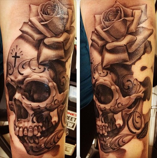 Large Grey Owl With Skull Tattoo On Chest