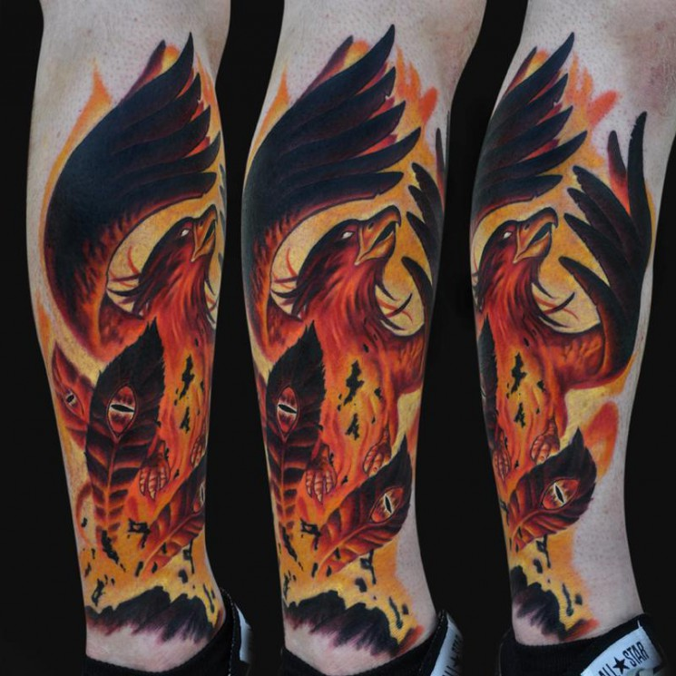 Large Phoenix And Flames Tattoos On Backbody