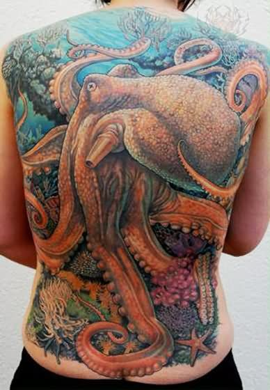 Large Underwater Octopus Tattoo On Front Body