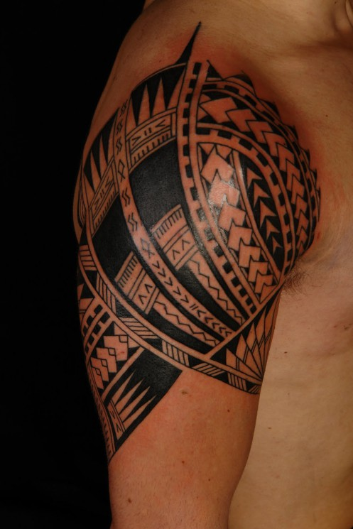 Latest Black Polynesian Tribal Tattoo Design