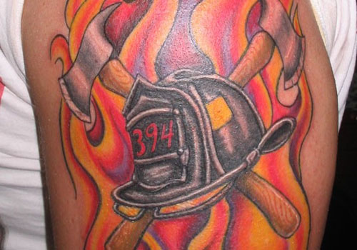 Latest Firefighters Helmet And Axe Tattoos
