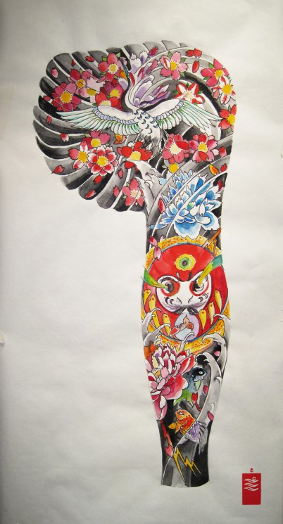 Latest Japanese Mask Tattoo Design