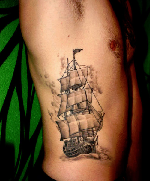 Latest Ship Tattoo On Chest For Men