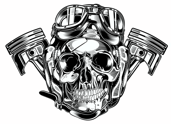 Latest Wings Pistons And Skull Tattoo Designs