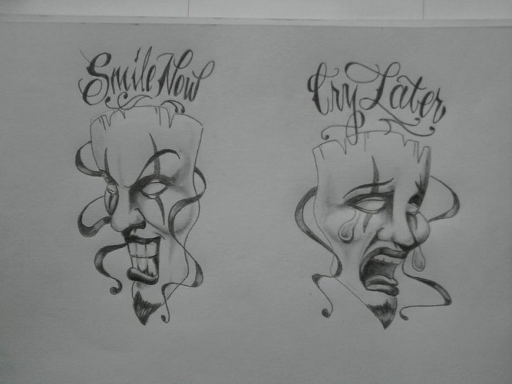 Laugh Now Cry Later Clown Mask Tattoo Designs