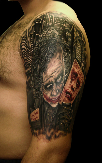 Laugh Now Cry Later Joker Tattoo For Women