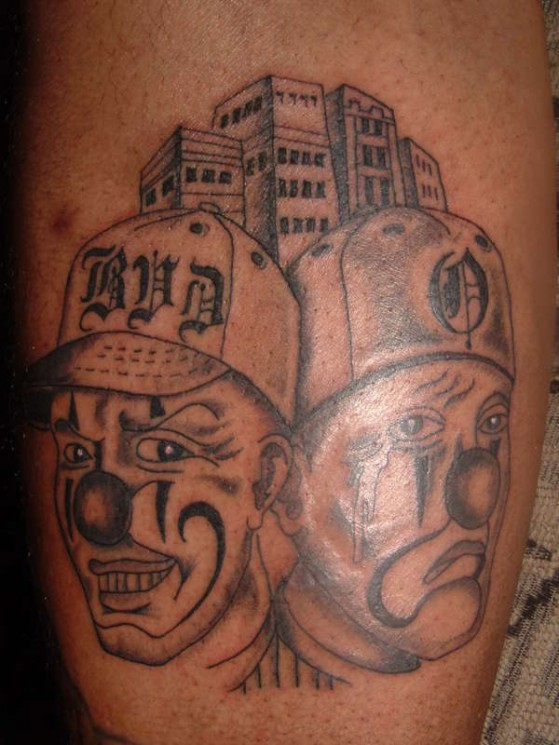 Laugh Now Cry Later Masks Tattoos On Arm