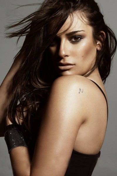 Lea Michele Back Shoulder Tattoo