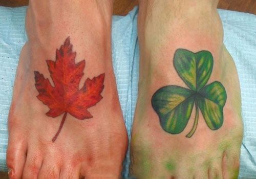 Leaf Feet Tattoo Designs