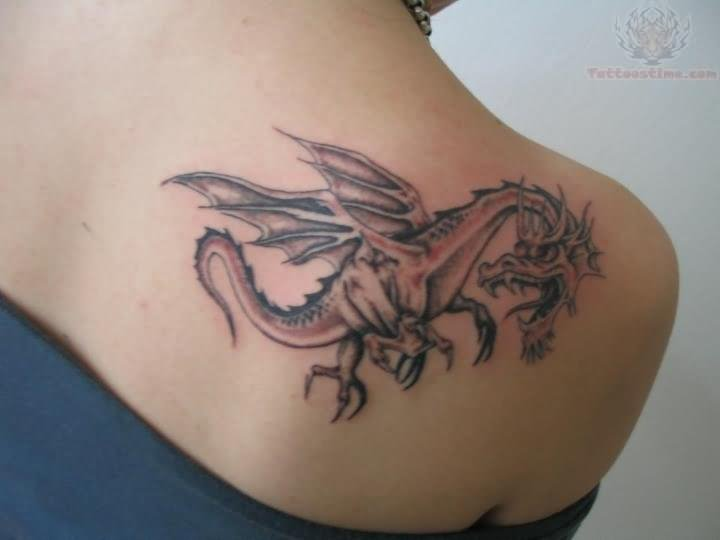 Left Back Shoulder Dragon Tattoo For Girls