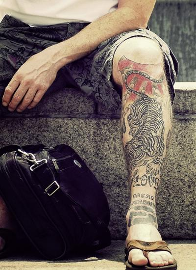 Left Leg Tiger Tattoo For Men