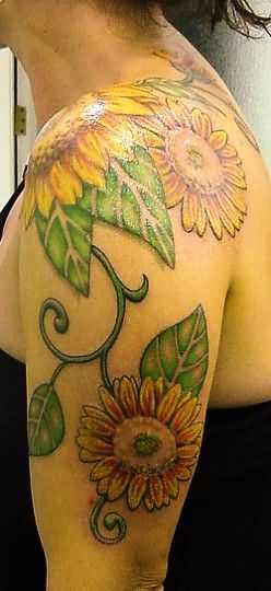Left Shoulder Sunflower Tattoos On Shoulder