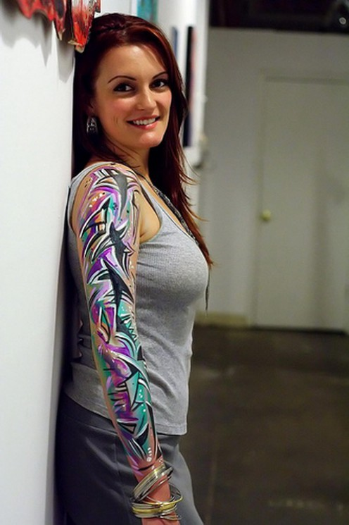 Left Sleeve Of Abstract Watercolor Tattoos