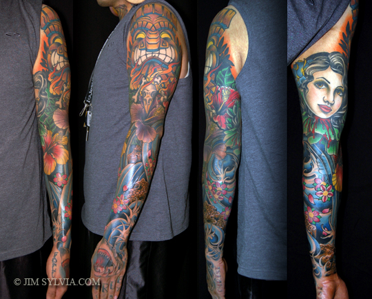 Left Sleeve Traditional Tattoos For Guys