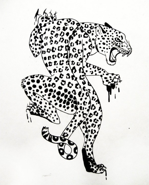 Leopard Head Tattoo Stencil