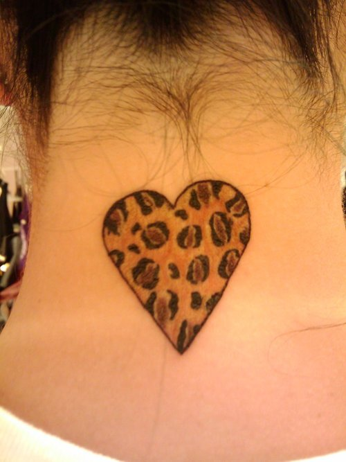 Leopard Print Heart Tattoo On Back Neck