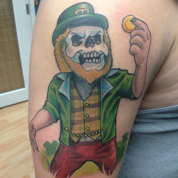 Leprechaun With Beer Tattoo  On Biceps