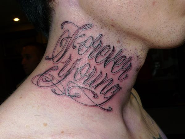 Lettering Neck Tattoo For Guys