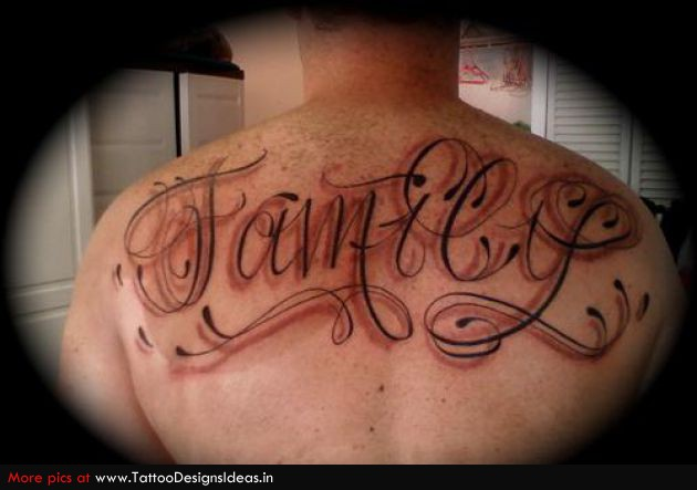 Lettering Star Tattoo On Chest