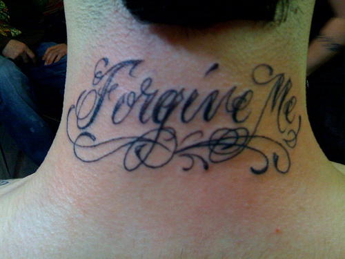 Lettering Tattoo On Chest With Eagle