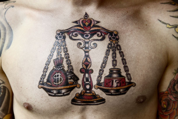 Libra Balance Tattoo On Chest For Men