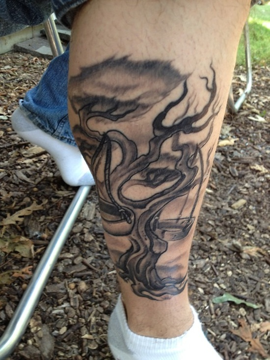 Libra Tree Tattoo On Leg