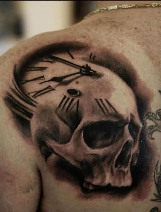 Life Is Game Skull And Clock Tattoos On Right Lower Arm