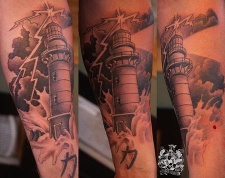 Lightning Lighthouse In Wave Tattoo