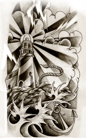 Lightning Lighthouse Star And Anchor Tattoos