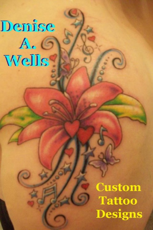 Lily And Flourishes Tattoos On Back Shoulder
