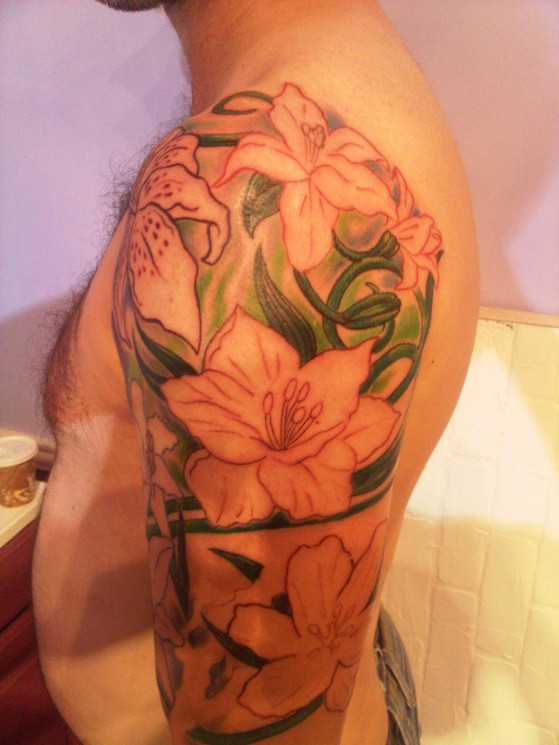 Lily Orchid Full Arm Tattoo