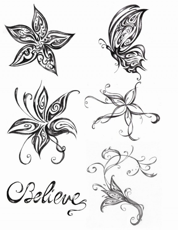 Lily n Butterfly Tattoo Design
