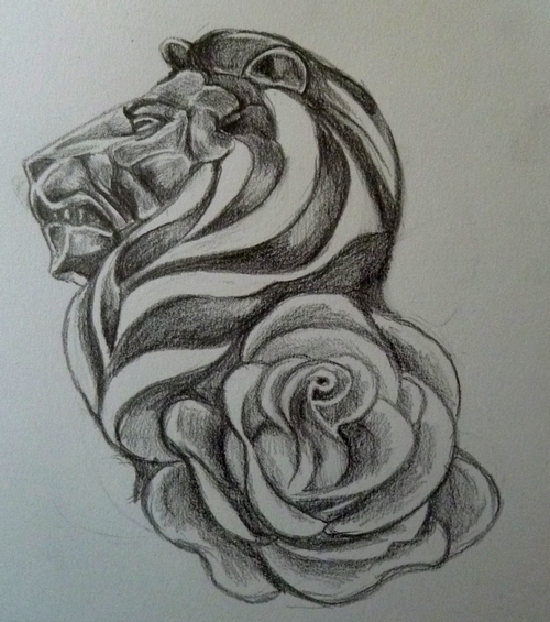 Lion And Rose Tattoos On Biceps
