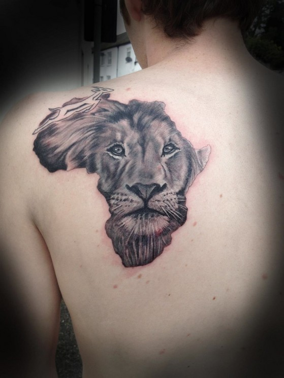 Lion Face African Map Tattoo
