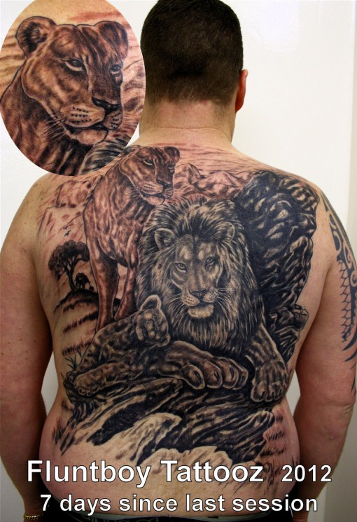 Lion Family Tattoo Picture On Back