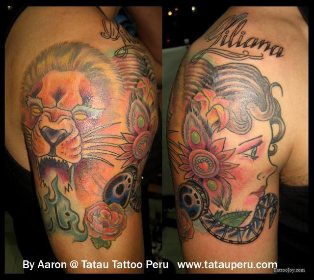 King Lion With Sword Tattoo Design On Rib Side