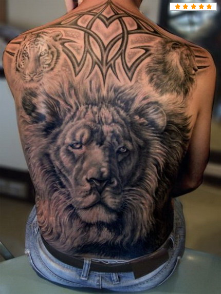 Lion Head Tattoo In Tribal Style