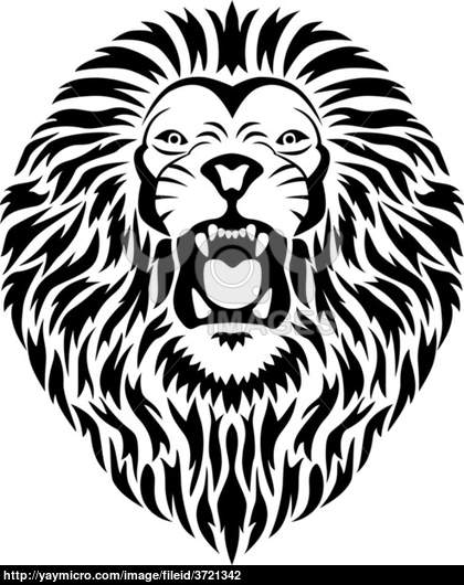 Lion roar in black and white tattoo style photo 5 2017 for Black and white lion tattoo