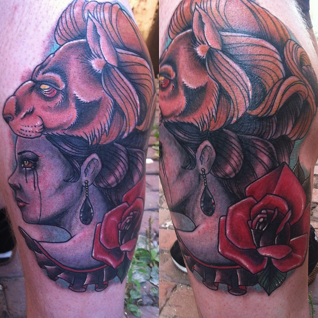 Lion Woman Head Traditional Tattoo On Biceps