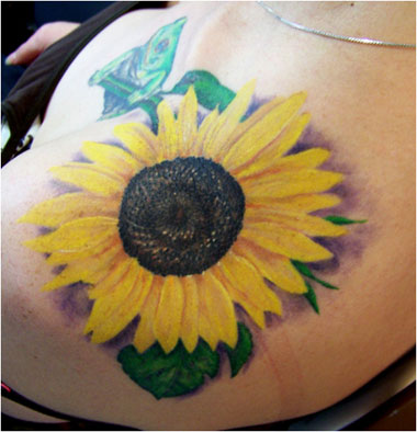 Lip Piercing And Yellow Sunflower Tattoos For Girls