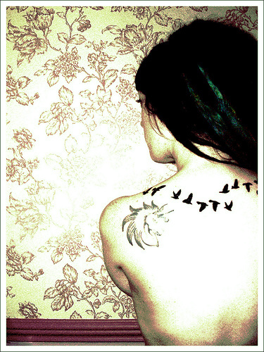 Literary And Bird Tattoo On Back Shoulder