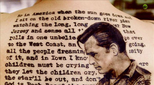 Literary And Jack Kerouac Portrait Tattoos On Back