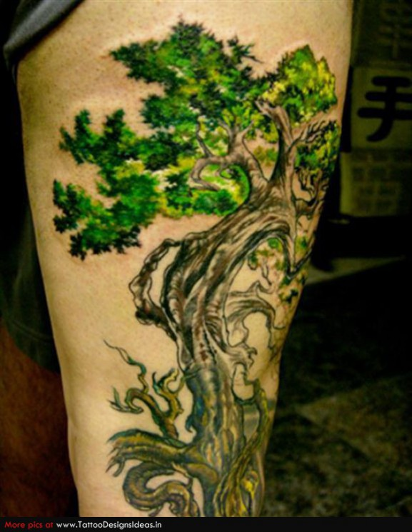 Literary And Tree Tattoo Design