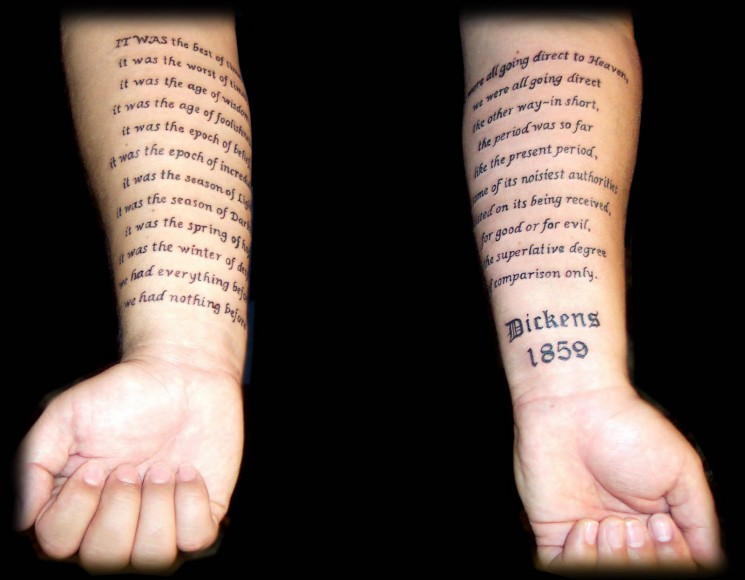 Literary Scroll Tattoo On Arm
