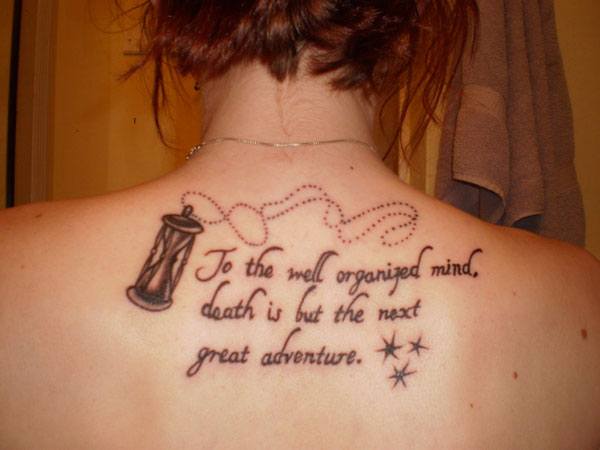 Literary Tattoo On Right Foot For Girls