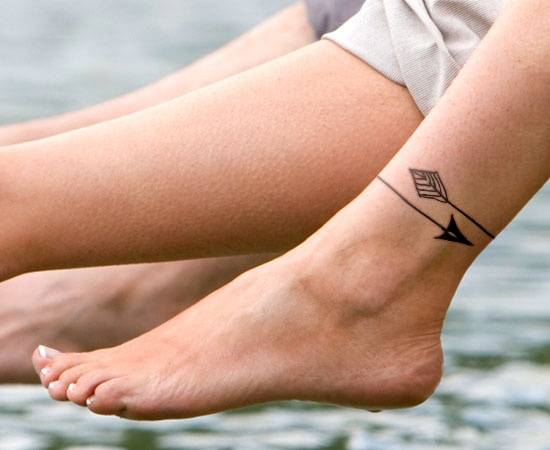 Little Arrow With Bow Tattoo On Ankle