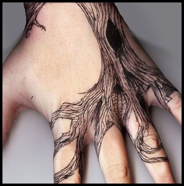 Little Birds And Tree Tattoos On Hand
