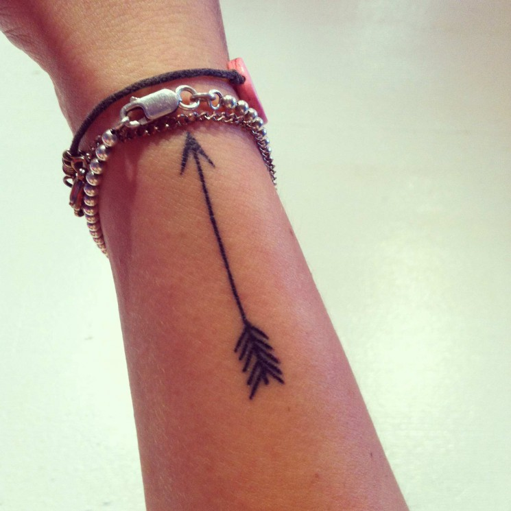 Little Black Ink Arrow Tattoo On Side Of Wrist