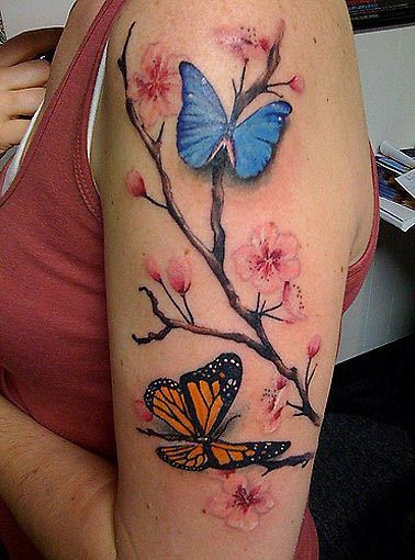 Little Colorful Butterflies And Blossoms Tattoos